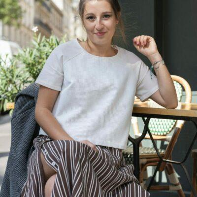 Amande C - look en terrasse jupe longue et ruban - Amandine Chambrelent